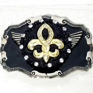 Fluer De Lis Silver,Black & Gold Belt Buckle.